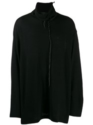 Yohji Yamamoto Roll Neck Sweatshirt With Plait Detail Black
