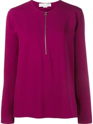 Stella Mccartney Long Sleeve Top With Front Zip Pink And Purple