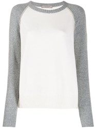 D.Exterior Contrasting Sleeve Jumper White