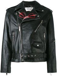 Valentino Love Blade Embroidered Leather Jacket Black