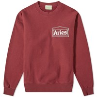 Aries Temple Logo Crew Sweat Red