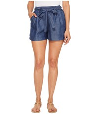 Lucky Brand Tie Front Chambray Shorts In Blue Chambray Blue Chambray Women's Shorts