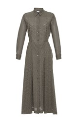 Blumarine Eyelet Long Sleeve Midi Shirt Dress Dark Green