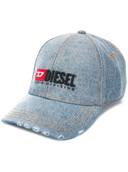 Diesel Denim Baseball Cap With Embroidery Blue