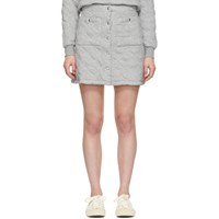 Maison Kitsune Grey Quilted Buttoned Miniskirt