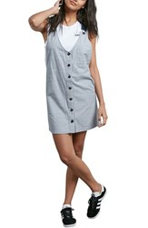 Volcom 'S Stripe Chambray Pinafore Dress