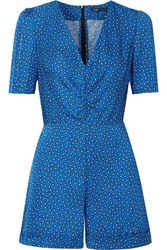 Maje Ilona Printed Satin Playsuit Blue