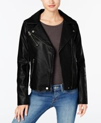 Lucky Brand Distressed Faux Leather Moto Jacket Black