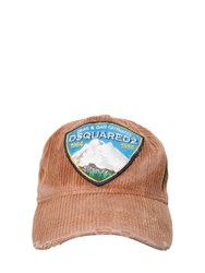 Dsquared Cotton Baseball Hat W Patch Beige