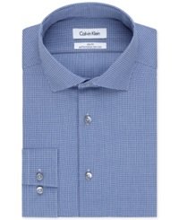 Calvin Klein Steel Slim Fit Non Iron Empire Blue Check Performance Dress Shirt