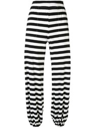 Norma Kamali Striped Jogger Trousers White