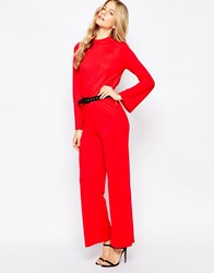 Vero Moda High Neck Jumpsuit With Open Back Red