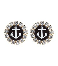 Dolce And Gabbana Anchor Brooch Clip On Earrings Female Black