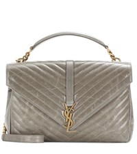 Saint Laurent Large College Monogram Matelesse Leather Shoulder Bag Grey