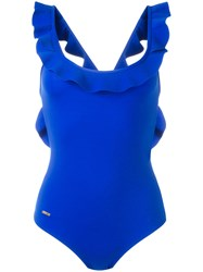 Fendi Ruffled Swimsuit Blue