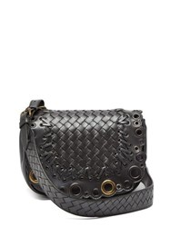 Bottega Veneta Luna Intrecciato Leather Cross Body Bag Silver