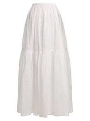 Mes Demoiselles Organdy Glor Embroidered Skirt Ivory