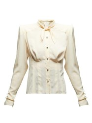 Dolce And Gabbana Tie Neck Exaggerated Shoulder Silk Blouse Cream
