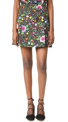 Victoria Beckham Printed Miniskirt Embroidered Flower Black Multi