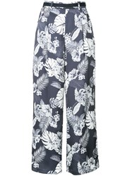 Loveless Floral Printed Flared Trousers Blue
