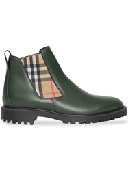 Burberry Vintage Check Detail Leather Chelsea Boots Green