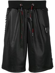 Plein Sport Printed Leather Look Shorts Polyester M Black