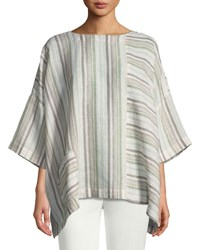 Eskandar Mixed Stripe Linen T Shirt Green Pattern