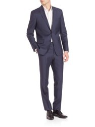 Saks Fifth Avenue Sharkskin Wool Suit Navy