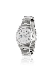 Jacquie Aiche White Vintage Rolex Leaf And Eye Diamond Dial Watch Silver