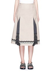 Toga Archives Woven Paper Slit Linen Midi Skirt Neutral