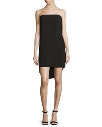 Halston Strapless Draped Sheath Dress Black