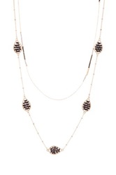 Cara Accessories Beaded Layering Teardrop Necklace Black
