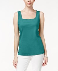 Karen Scott Square Neck Tank Top Only At Macy's New Pool Green