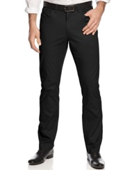 Alfani Red Slim Fit Cotton Stretch Pants Deep Black