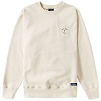Bleu De Paname Anchor Logo Crew Sweat Neutrals