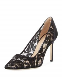 Manolo Blahnik Bb Lace 90Mm Pointed Toe Pump Black