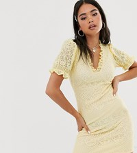 Reclaimed Vintage Inspired Dress In Lace With Ruffle Front Yellow