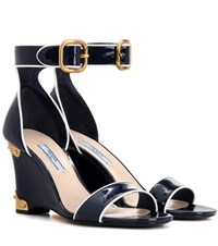 Prada Patent Leather Sandals Blue