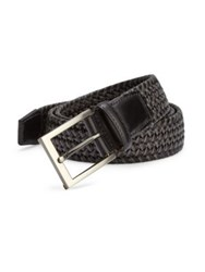 Saks Fifth Avenue Braided Leather Blend Belt Black Grey