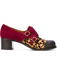 Chie Mihara Contrast Buckled Shoes Red