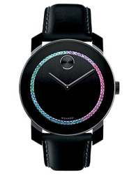 Movado Crystal Stainless Steel And Leather Watch Black