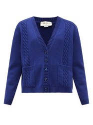 Gucci Gg Logo Cable Knit Wool Cardigan Blue