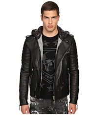 Philipp Plein Leather Hey You Jacket Black Men's Coat