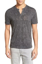 Men's John Varvatos Collection Eyelet Short Sleeve Henley Dark Grey
