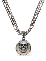 Alexander Mcqueen Skull And Logo Coin Double Chain Necklace Silver