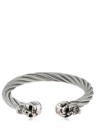 Cantini Mc Firenze Twisted Double Skull Bracelet Silver