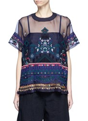 Sacai Embroidered Tribal Lace Organdy Top Multi Colour