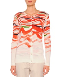 Piazza Sempione Cashmere Blend Wave Print Cardigan Orange Multi