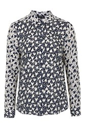 Topshop Long Sleeve Heart Print Shirt Navy Blue