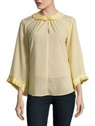Ellen Tracy Pleated Three Quarter Sleeve Top Daffodil